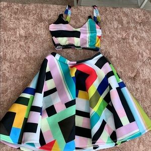 Dresses & Skirts - Color block Printed top and skater skirt